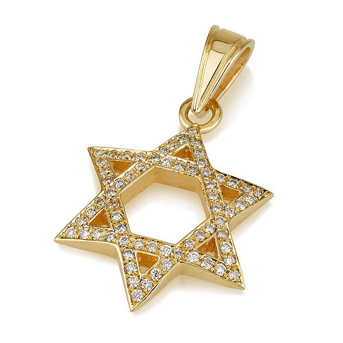 18K Yellow Gold Large Domed Diamond Star of David Pendant