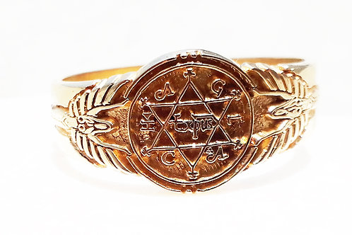 Solomon Ring of Power small size 1.1 cms handmade Gold 22K