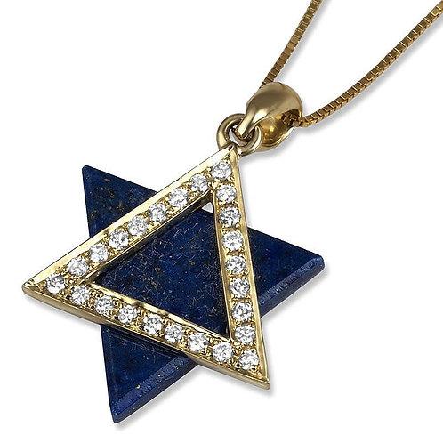 Star of David 14K Gold Diamond Encrusted Pendant with Lapis Lazuli