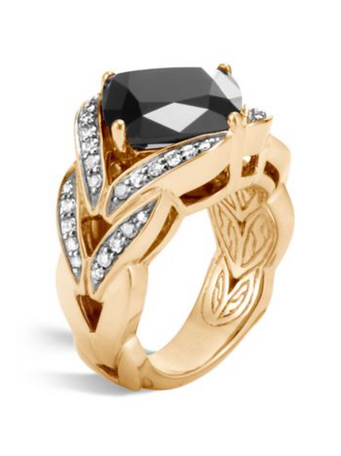 Black Onyx, Diamond & 18K Yellow Gold Ring
