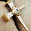 Thumbnail: Rugged Three Nail Cross Stanhope Prayer Pendant hand made Gold 10K with Amethyst