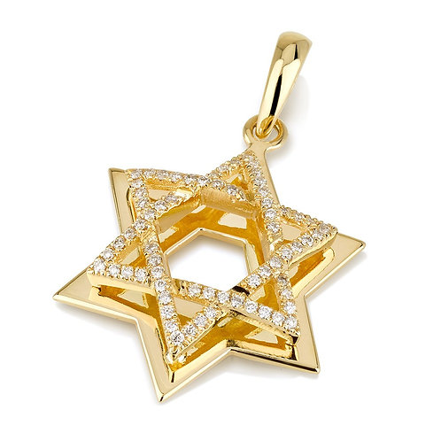 18K Yellow Large Double Star of David Pendant with Domed Diamond Star
