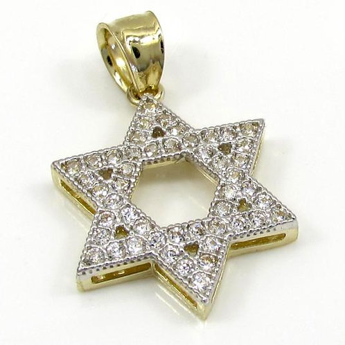 Star of David Pendant 10k Yellow Gold Small Iced Out Zircon 0.25CT