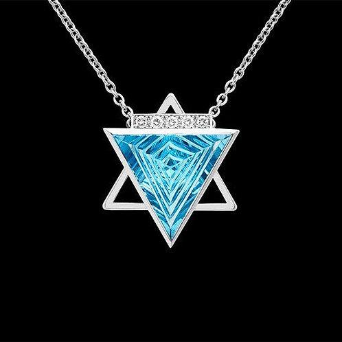 Star Of David with Aguamarine White Gold 18K