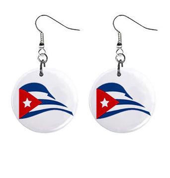 cuban flapping-flag-mini-button-earrings
