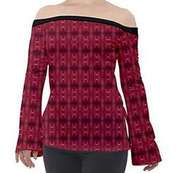 red puddle diamonds off shoulder long sl