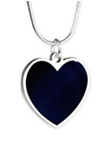 mid-nite sapphire silver heart necklace.
