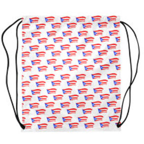 puerto rican flags white drawstring bag