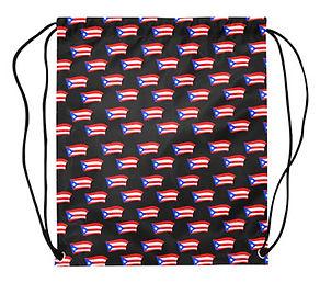 puerto ricann flags black drawstring bag