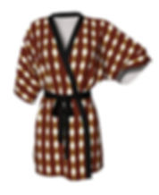 African Flash Cream Diamond kimono robe.
