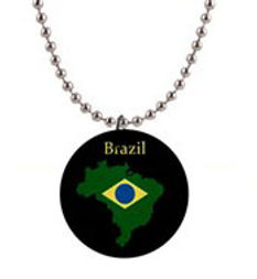 brazil flag outline in black button neck