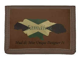 jamaican flag outine map brown fold over