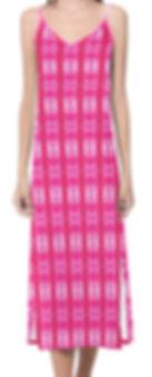 pink lavaxedv-neck open fork long dress.
