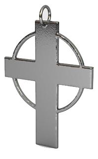 hallow circle cross pendant fine polishe