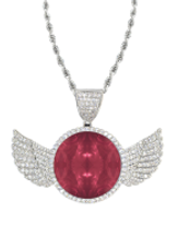 red ruddle diamonds wings silver pendant