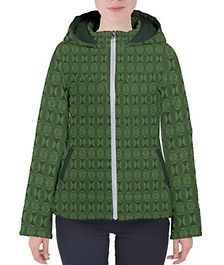 hunter green kaleidoscope hooded puffer