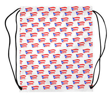 puerto rican flags white drawstring bag.