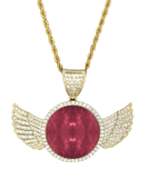red ruddle diamonds wings gold pendant w