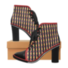 kente stripes lace up chunky heel ankle