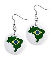 brazil flag outline mini button earrings