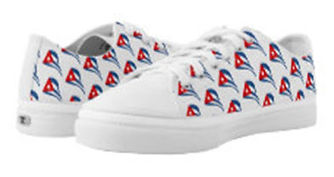 cuban flapping flag white zip sneakers (