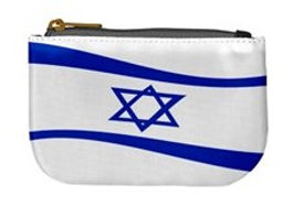 jewish flag waving oblong coin change pu