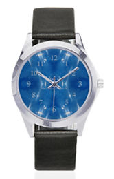 garkle blue silver-tone leather watch.jp