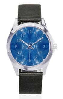 garkle blue silver-tone leather watch.jp