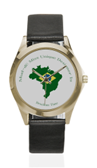 brazil flag outline gold silver tone lea