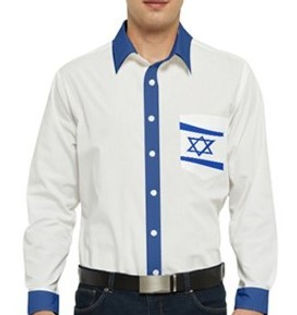 jewish waving star men's long sleeve poc