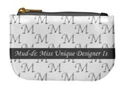 mud-di signature gray oblong coin purse.
