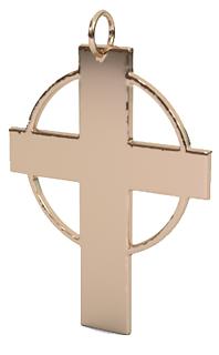 hallow circle cross pendant 14k rg.png