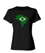 Brazil+Flag+Outline+Relaxed+Fitted+Black