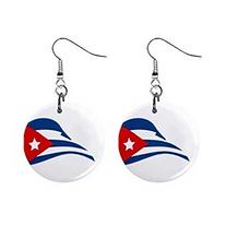 cuban flapping flag mini button earrings