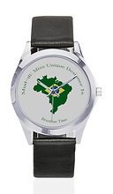 brazil flag outline silver tone leather