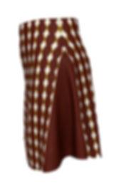 african cream diamond brown flare skirt.