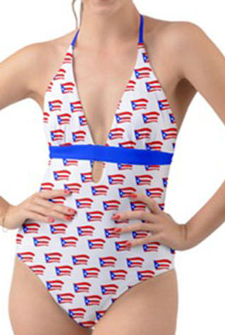 Puerto Rican Flags White Halter Cut-Out