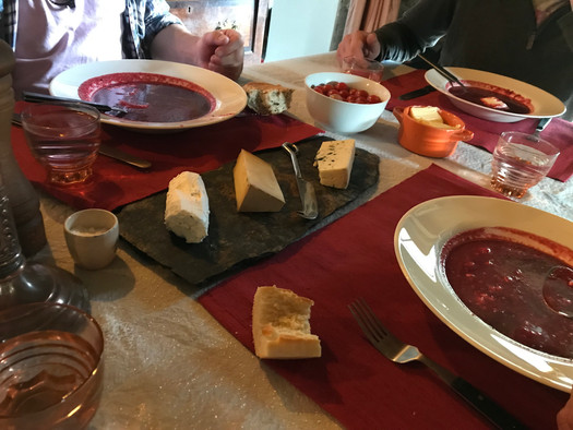 Homemade soup and cheeses lunch