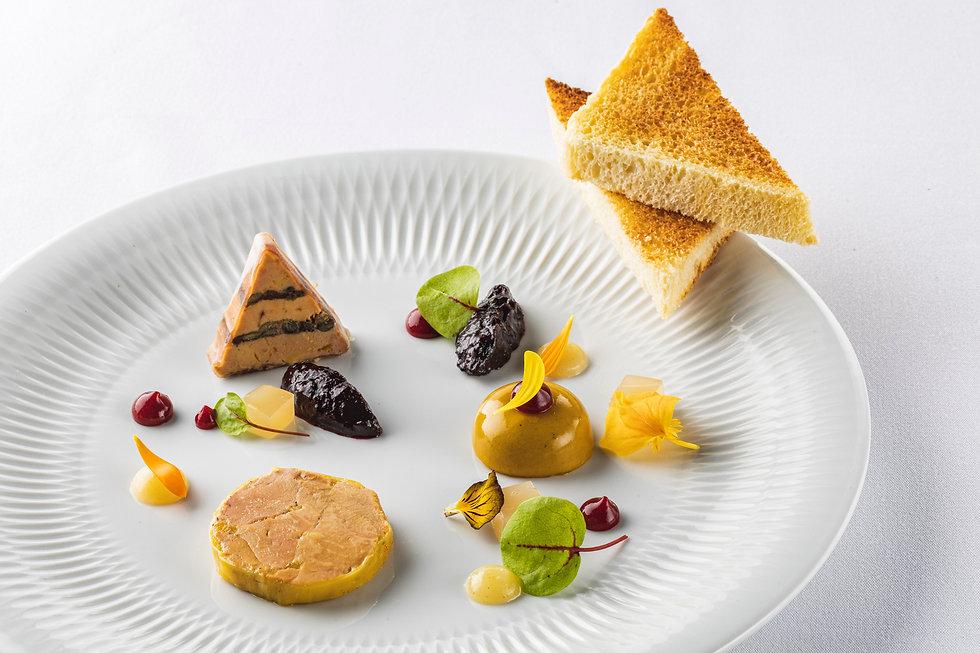 trilogie de foie gras façon Saint-Amour.
