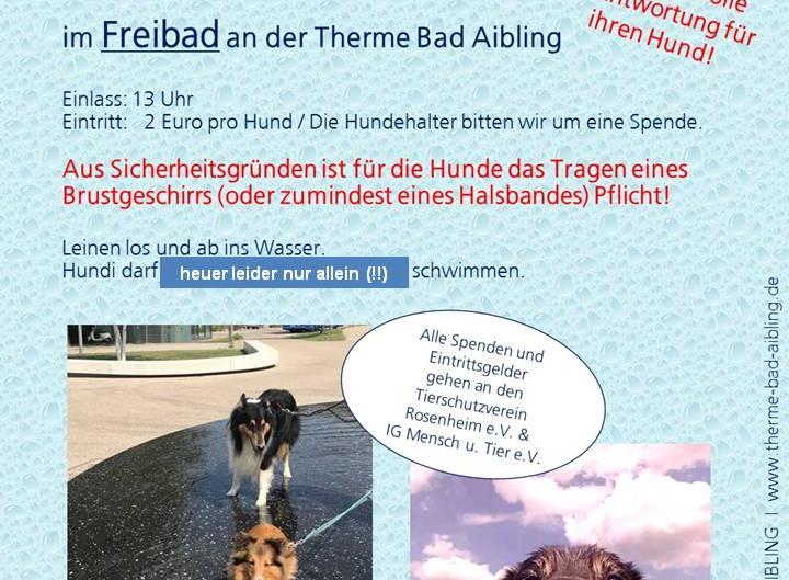 Montag 14. September - Hundebadetag in der Therme Bad Aibling