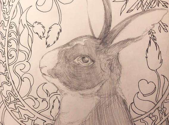 Sketch- Rabbit and Art Noveau