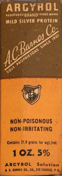 Etui argyrol: un des premiers produits pharmaceutiques à base d'argent
