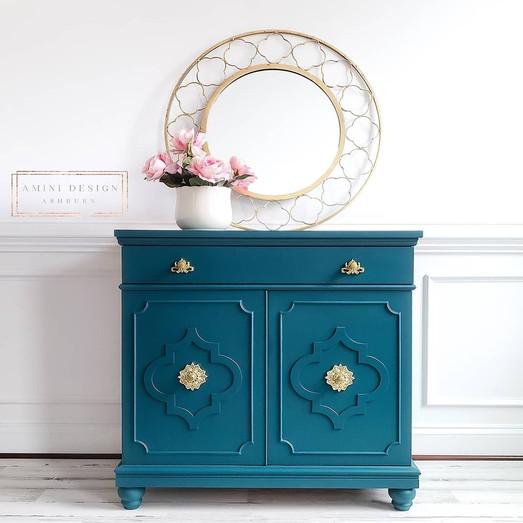 Peacock quatrefoil glam cabinet