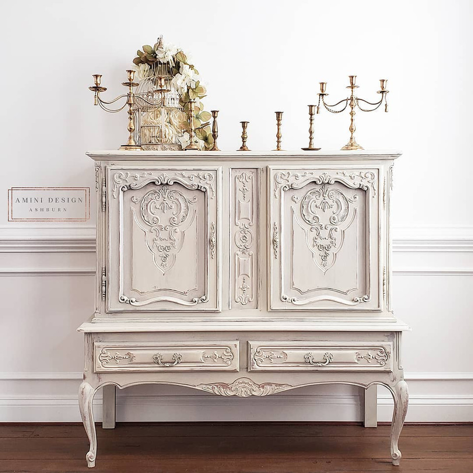 White distressed painted cabinet