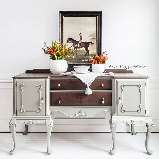 Painted Furniture Cabriolet Sideboard Buffet Gray Elegant