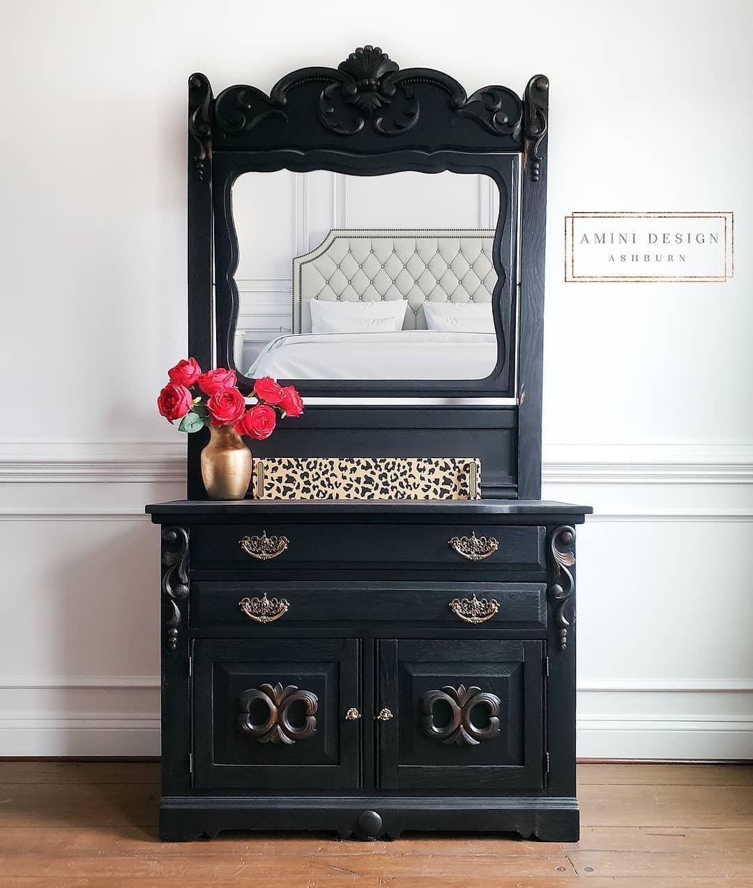 Black Eastlake Dresser