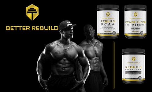 Two African-American men standing next to nutrition supplements