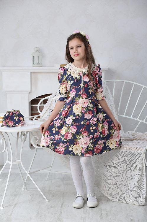 Платье МТ 16-1розы джинс