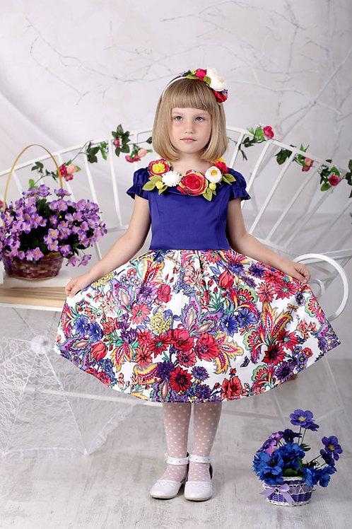 платье для девочки Розали М-426 цветочный узор