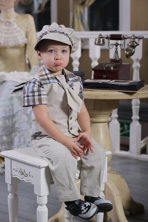 Жилет для мальчика М-366 натуральный/шоколад